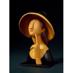 Jeanne Hébuterne met grote strooien hoed